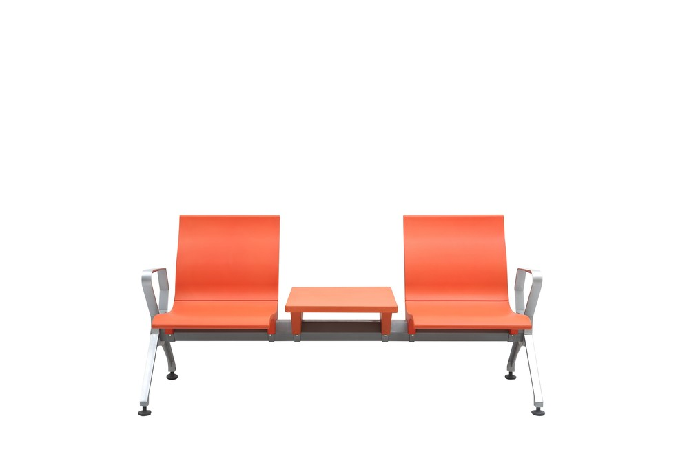 PU plastic airport waiting chair with PU plastic tea table P2005