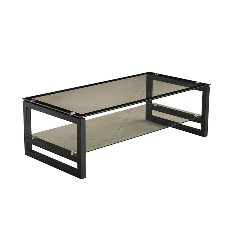 Black Color Metal Tough Glass Office Tea Table OH087